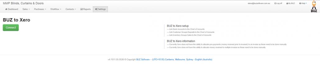 Buz + Xero connecting Buz with Xero